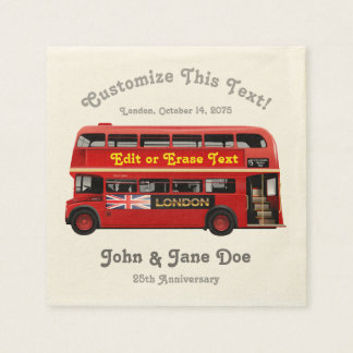 Red London Bus Themed Disposable Napkins