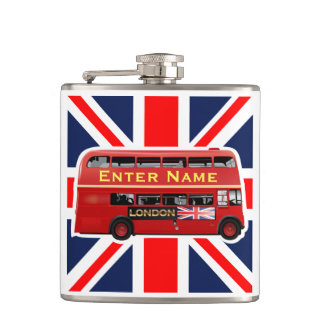 Red London Bus Themed Flasks