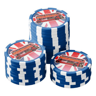 Red London Bus Themed Poker Chips