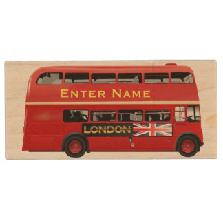 Red London Bus Themed Wood USB 2.0 Flash Drive