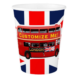 Red London Double Decker Bus Paper Cup