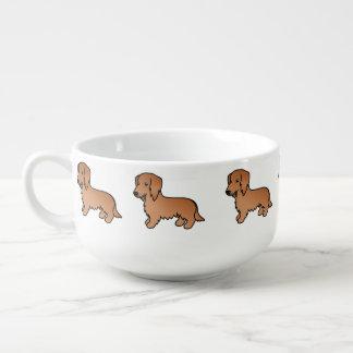 Red Long Coat Dachshund Cartoon Dog Soup Mug