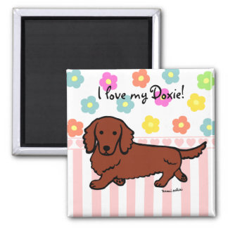 Red Long Haired Dachshund 1 Magnet