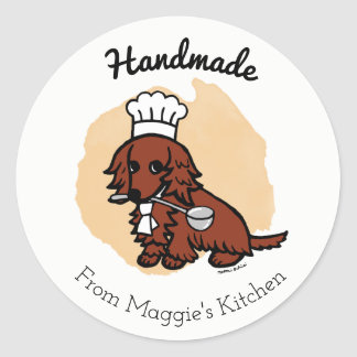 Red Long Haired Dachshund Chef Handmade Sticker