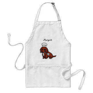Red Long Haired Dachshund Chef Standard Apron