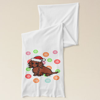 Red Long Haired Dachshund Christmas Scarf