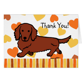 Red Long Haired Dachshund Thank You Card