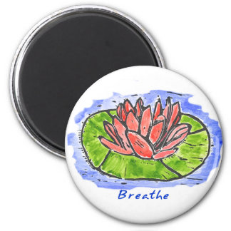 Red Lotus Breathe Lino Cut Magnet