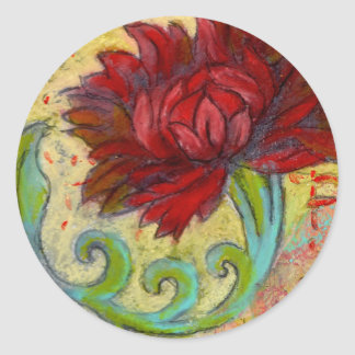 Red Lotus Dream Classic Round Sticker