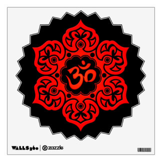 Red Lotus Flower Om on Black Wall Sticker