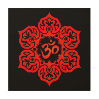 Red Lotus Flower Om on Black Wood Canvases
