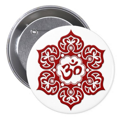Red Lotus Flower Om on White Pinback Buttons