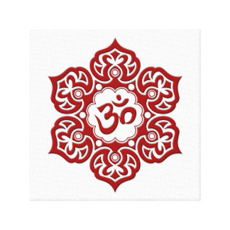 Red Lotus Flower Om on White Canvas Prints