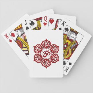 Red Lotus Flower Om on White Deck Of Cards