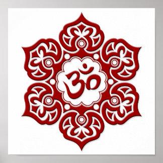 Red Lotus Flower Om on White Poster