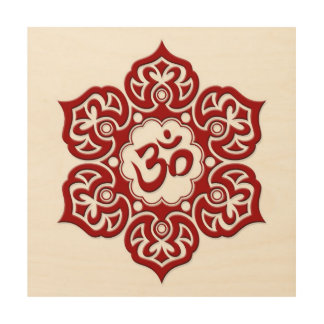 Red Lotus Flower Om on White Wood Canvases