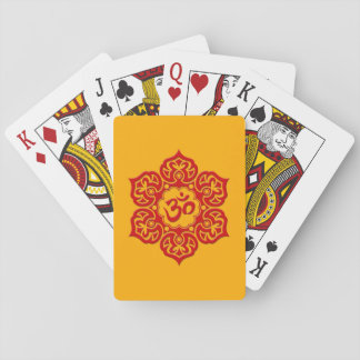 Red Lotus Flower Om on Yellow Poker Cards