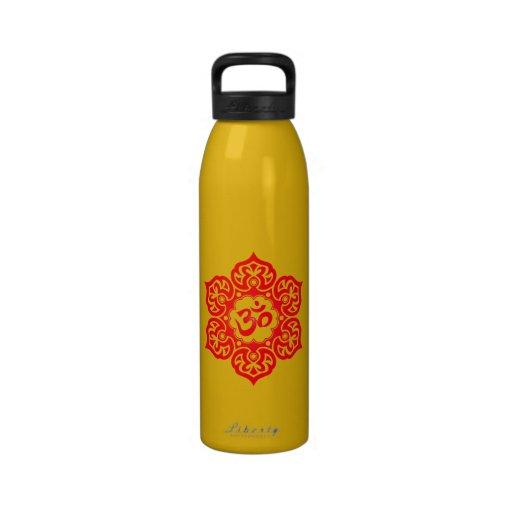 Red Lotus Flower Om Water Bottles