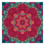 Red Lotus Mandala Poster