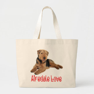 Red Love Airedale Terrier Brown & Black Puppy Dog Large Tote Bag
