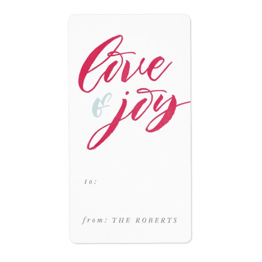 Red Love and Joy Gift Tag Sticker