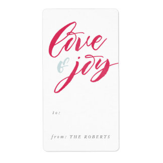 Red Love and Joy Gift Tag Sticker Shipping Label