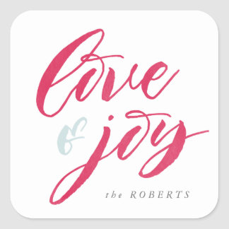 Red Love and Joy Rounded Corners Square Sticker