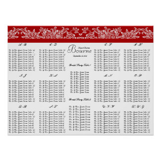 Red Love Bird Seating Chart Alphabetical Order