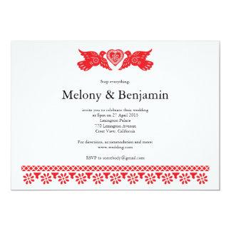 Red Love Birds Wedding Papel Picado Card