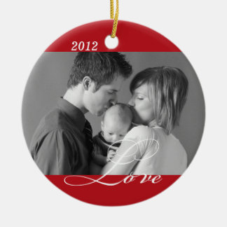 Red LOVE custom photo holiday sentiment keepsake Round Ceramic Ornament