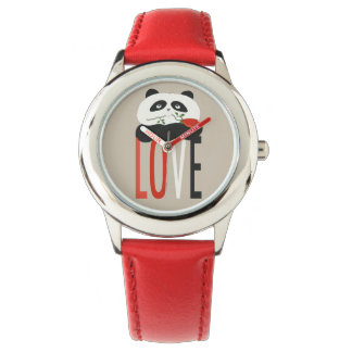 Red Love Cute Panda Bear Romantic Sweet Girly Chic Wristwatch