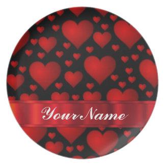 Red love heart pattern plate