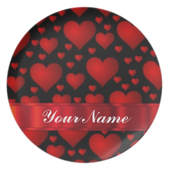Red love heart pattern plate