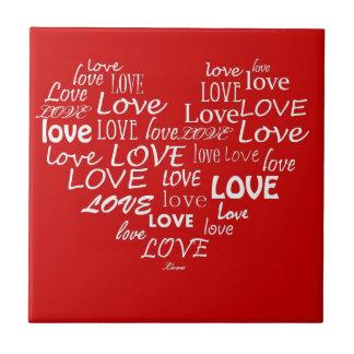 Red Love Heart Tile
