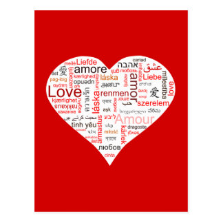 Red Love Heart Typography Postcards