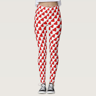 Red love heart with a black outline pattern leggings