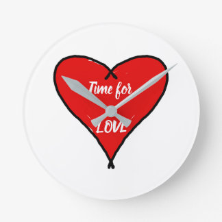 Red Love heart with black lines Text time for love Round Clock