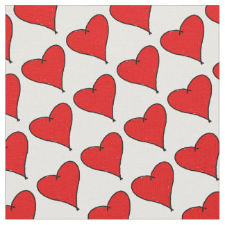 Red Love heart with black lines white text Love Fabric