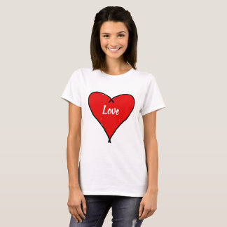 Red Love heart with black lines white text Love T-Shirt