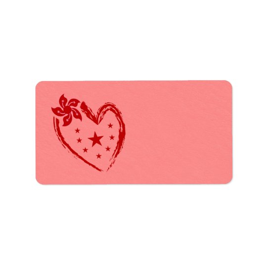 Red love heart with flowers and stars label