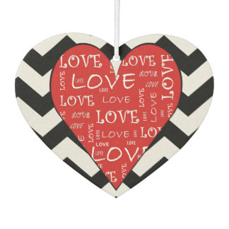 Red Love Heart ZigZag Heart Shaped Air Freshener