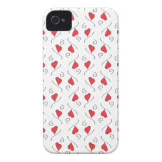 Red Love Hearts and Swirls Blackberry Bold case