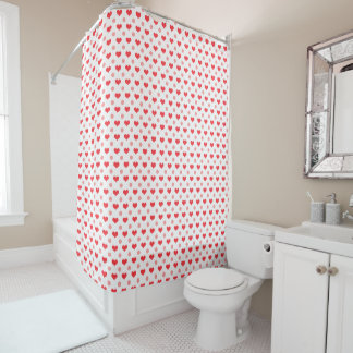 red love hearts, pastel pink polka dots pattern
