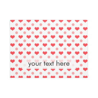 red love hearts, pastel pink polka dots pattern doormat