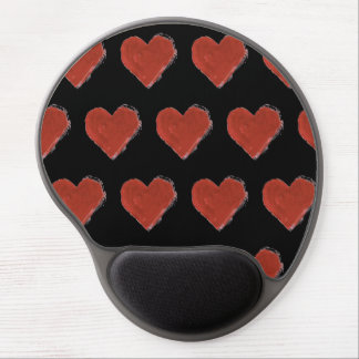 Red Love Hearts Pattern 2 Gel Mouse Pad