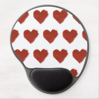 Red Love Hearts Pattern Gel Mouse Pad