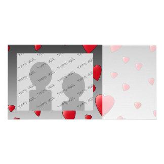 Red Love Hearts Pattern Custom Photo Card
