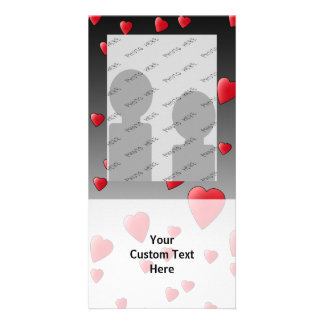 Red Love Hearts. Pattern. Custom Photo Card