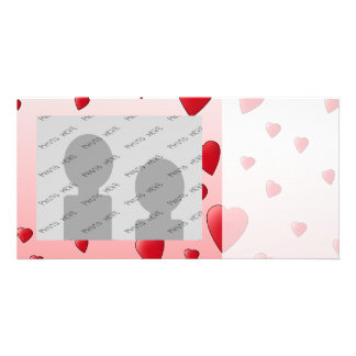 Red Love Hearts Pattern Photo Card