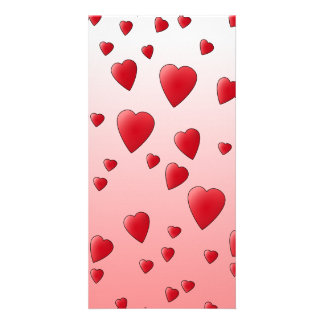Red Love Hearts. Pattern. Customized Photo Card